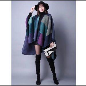 Large cashmere cape shawl 150*130cm